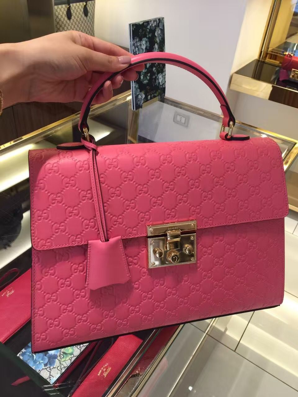 Gucci Padlock Handle Bag 428207 Candy Pink Discount Price www ...