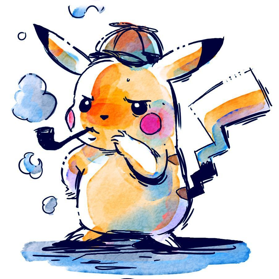 Pikachu Detective Pikachu Detective Manga Art Instaart Characterdesign Illustration Ink Watercolor Pokemon Random N Pikachu Art Pokemon Pikachu