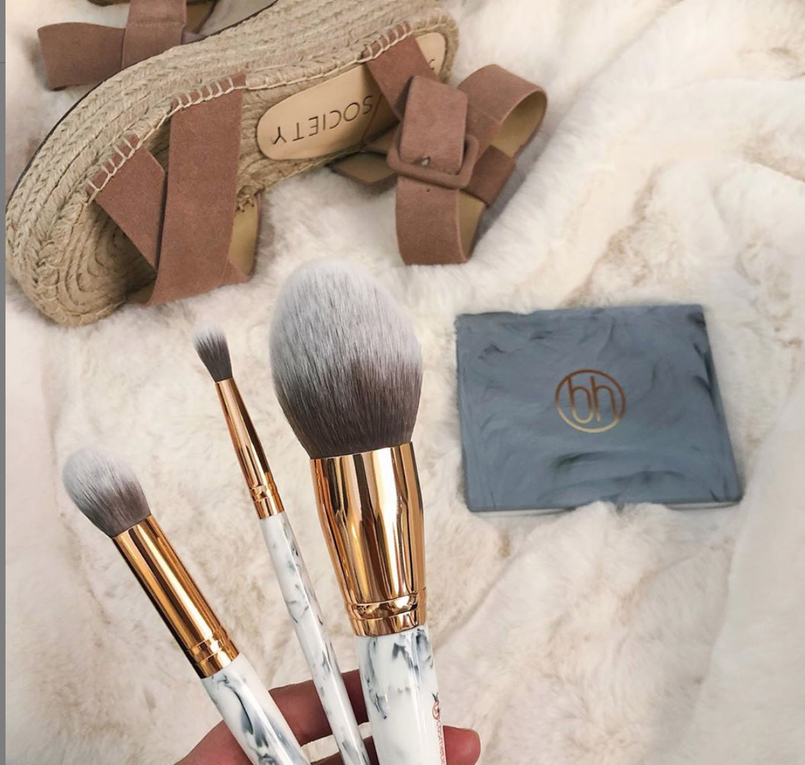 Bh Cosmetics Marble Luxe 10 Piece Brush Set In 2020 Bh Cosmetics Eye Blending Brush Eye Brushes