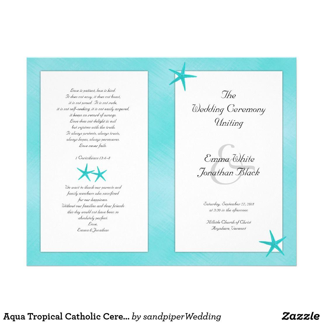Aqua Tropical Catholic Ceremony Wedding Program | Wedding programmes ...