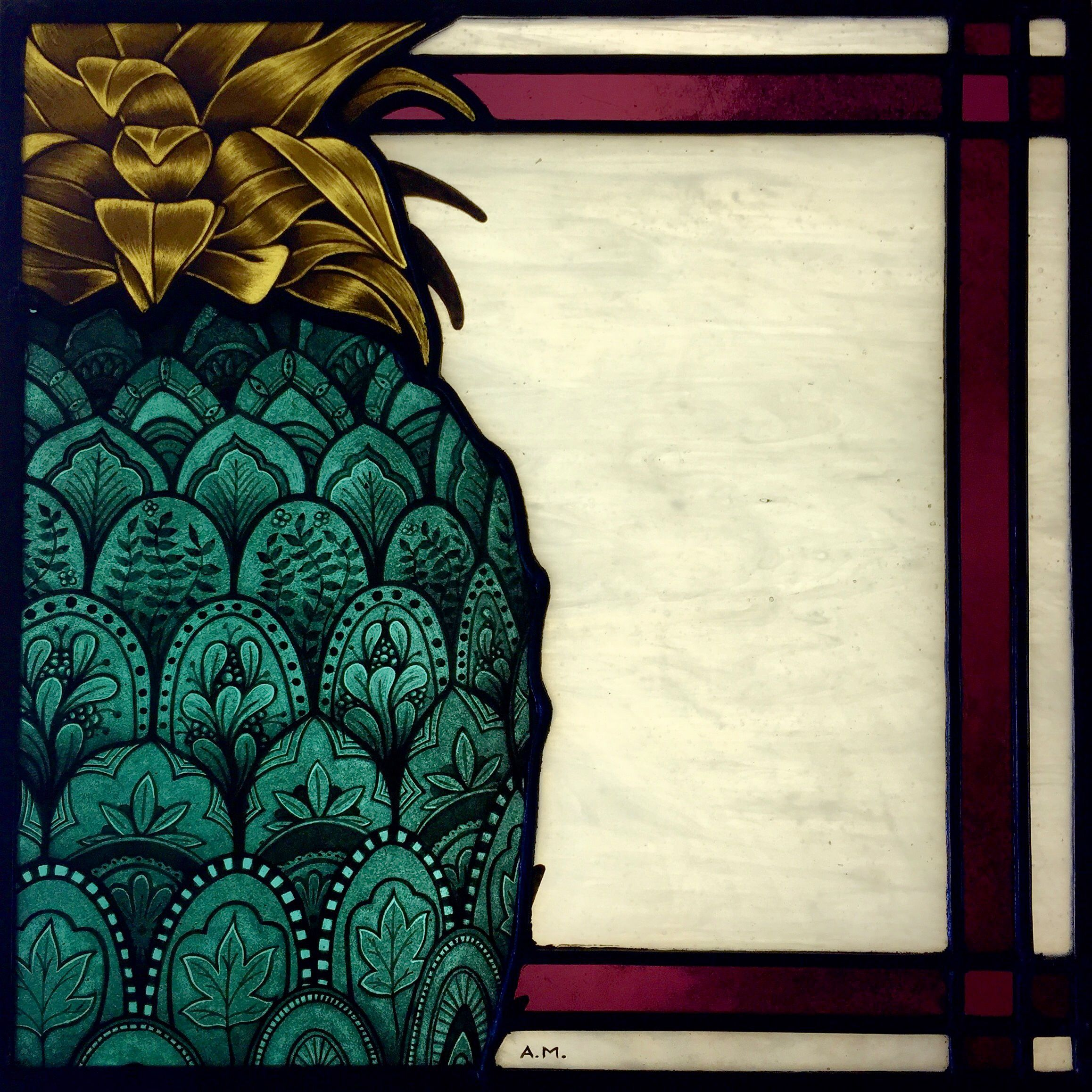 Corso Design D Interni.Pine Apple Design For The Detailed Stained Glass Windor Created