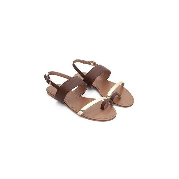Brown Leather Look Gold Strap Looped Toe Flat Sandals ($34) ❤ liked on Polyvore featuring shoes, sandals, genuine leather shoes, brown leather sandals, synthetic leather shoes, flat soled shoes and brown leather shoes