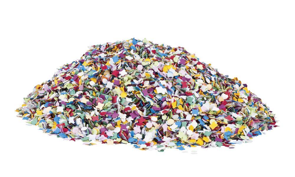 Konfetti. Konfetti on pientä paperikoristetta tai rouhetta, jota heitetään ilmaan juhlistaessa kilpailun voittajia tai päivänsankareita.