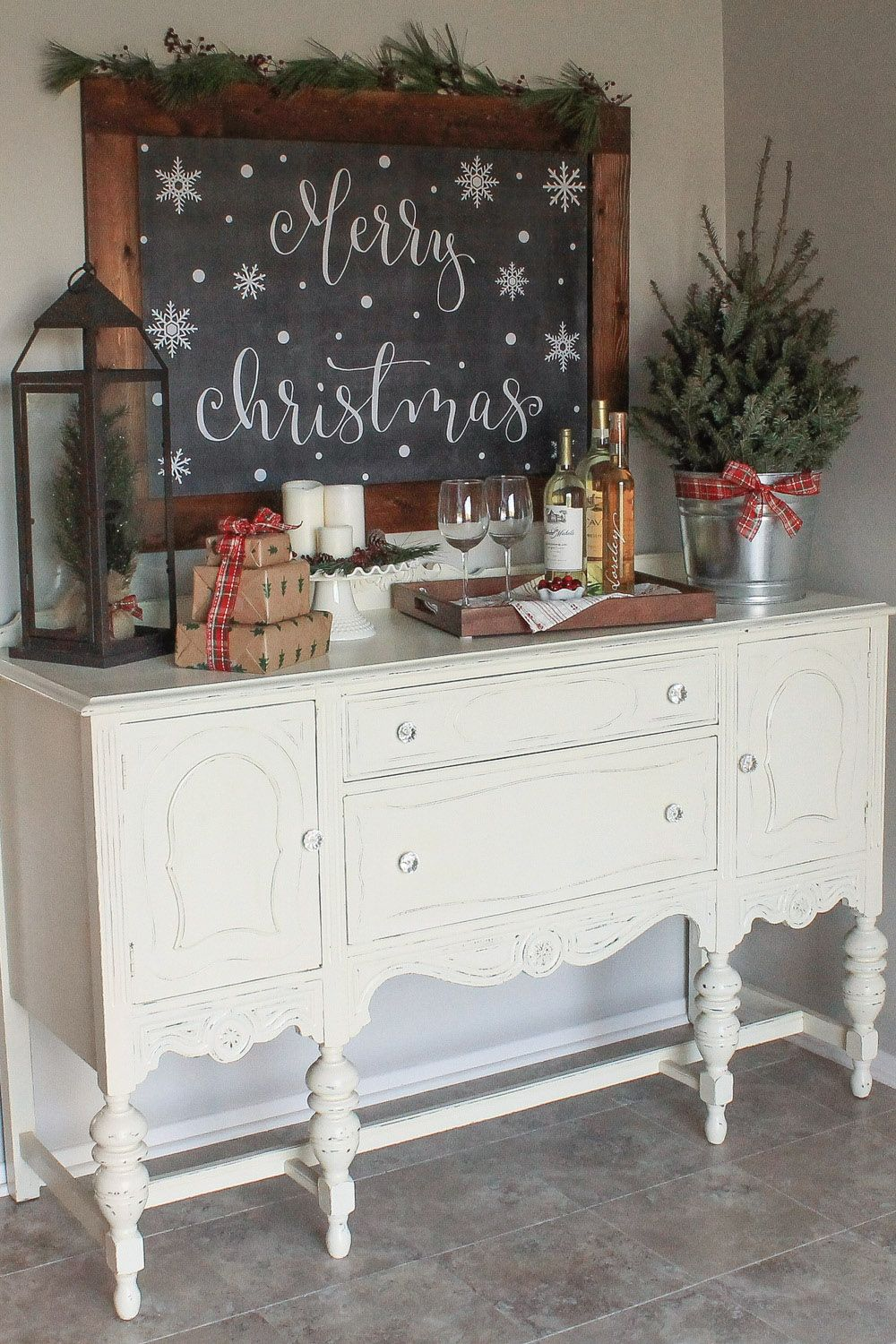 Cozy Christmas Kitchen Wine Nook Buffet