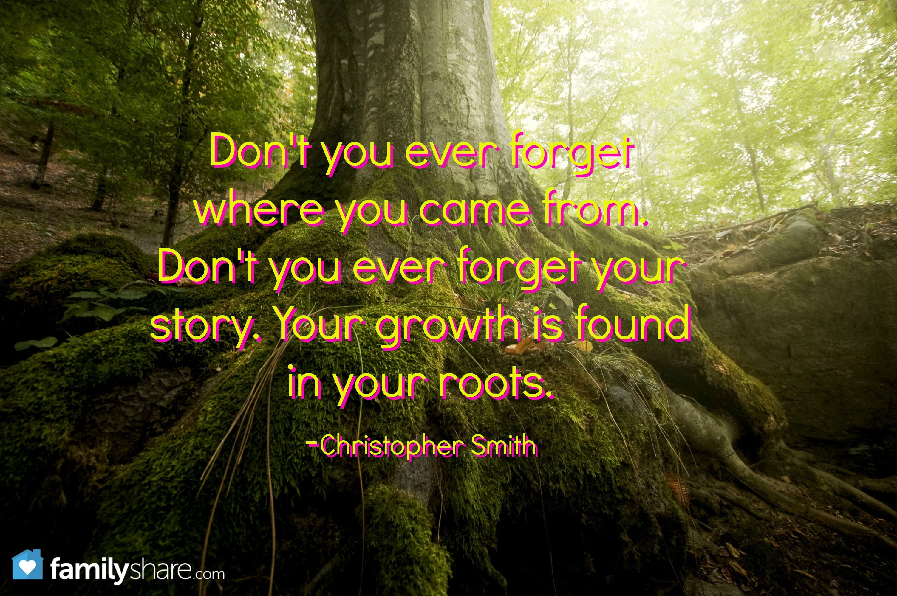 Don T You Ever Forget Where You Came From Don T You Ever Forget Your Story Your Growth Is Found In Your Roots C Roots Quotes Be Yourself Quotes Cool Words