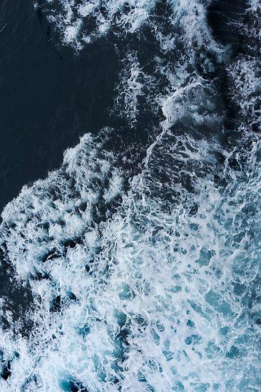 Blue Sea White Foam Poster By Ylart In 2019 Sea Waves