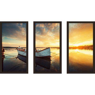 PicturePerfectInternational \'Boat on Lake\' 3 Piece Framed ...