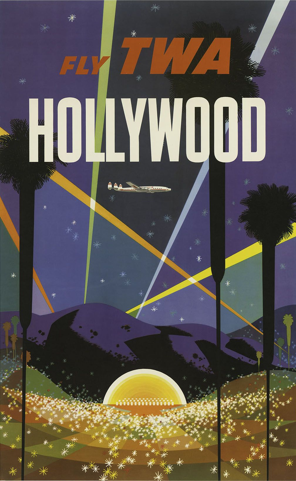 Poster design los angeles -  Fly Twa Hollywood Travel Poster By David Klein 1958 Http