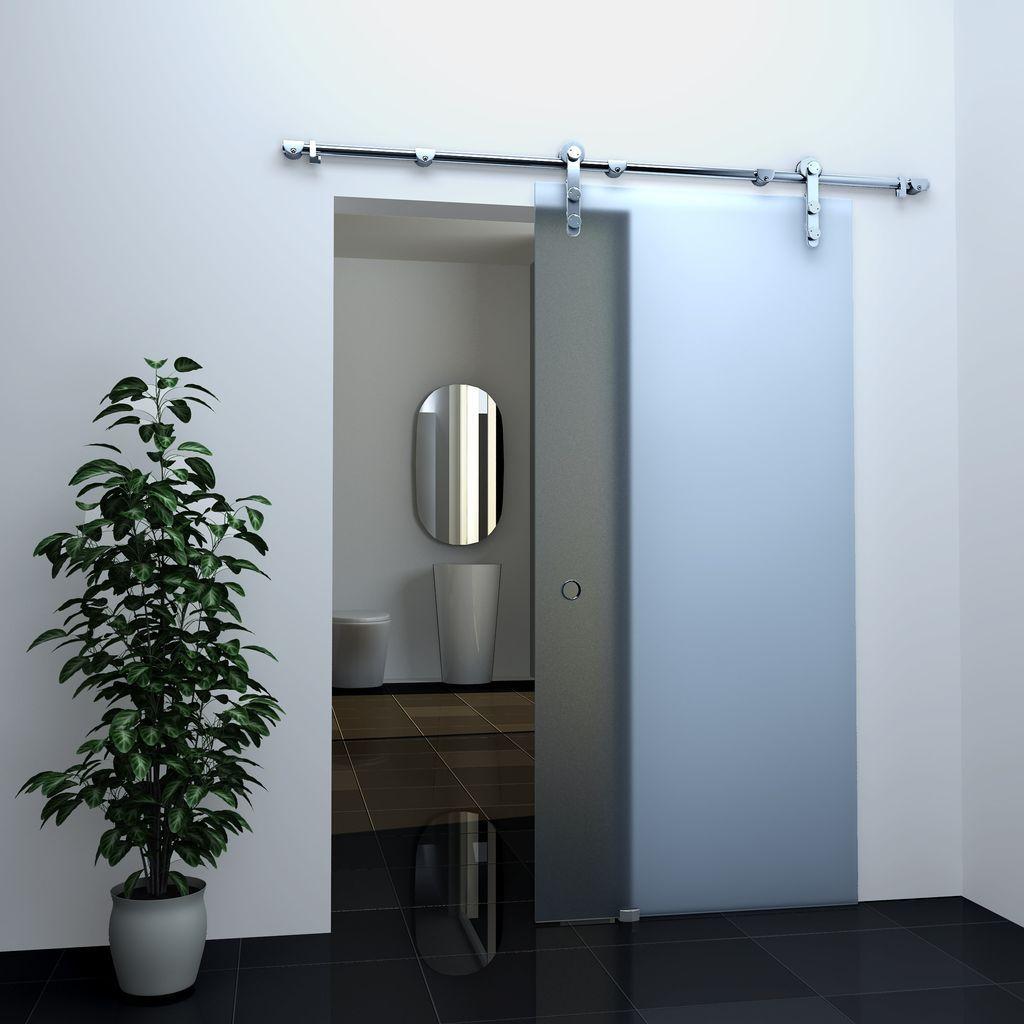 DURADOOR/® Glas-Schiebet/ür aus ESG Glas im 5-Streifendesign mit Klarfeld 2050 mm x 1050 mm x 10 mm B/ürot/ür Beschlag