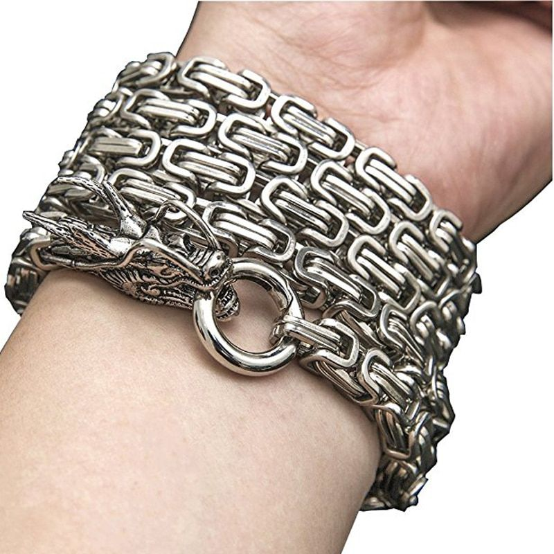 101cm Outdoor silver steel defense hand bracelet chain Dragon Head And Tail