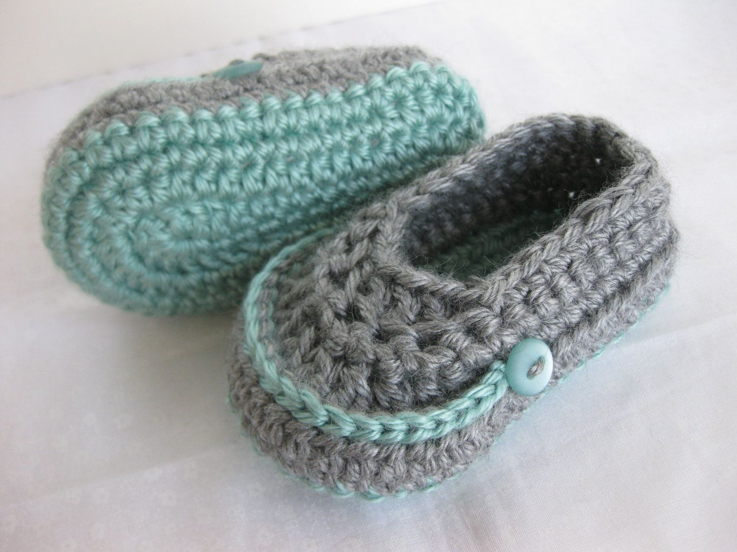 Baby Boy Booties Teal Grey Crochet | footwear | Pinterest | Zapatos ...