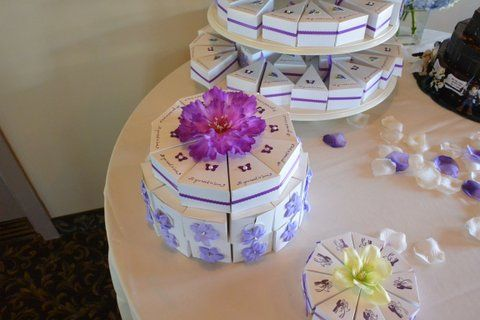Wedding Paper Cake Favors. Each slice has a treat for the guests!