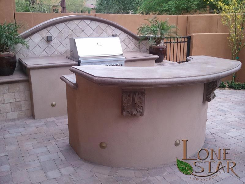 Bbq Counter Bar Outdoor Kitchen With Decorative Concrete