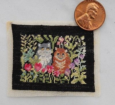 Vtg-Dollhouse-Miniature-Petit-Point-Cats-in-Garden-Embroidery-Artisan-Signed