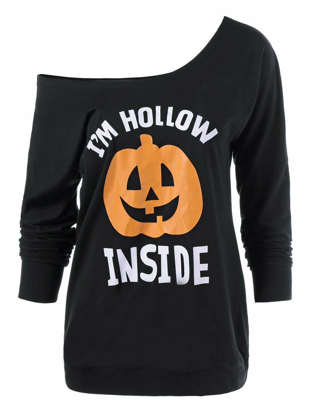 4657f6e9 Skew Neck Pumpkin Lamp Print Halloween T-Shirt, BLACK, M in Long Sleeves    DressLily.com