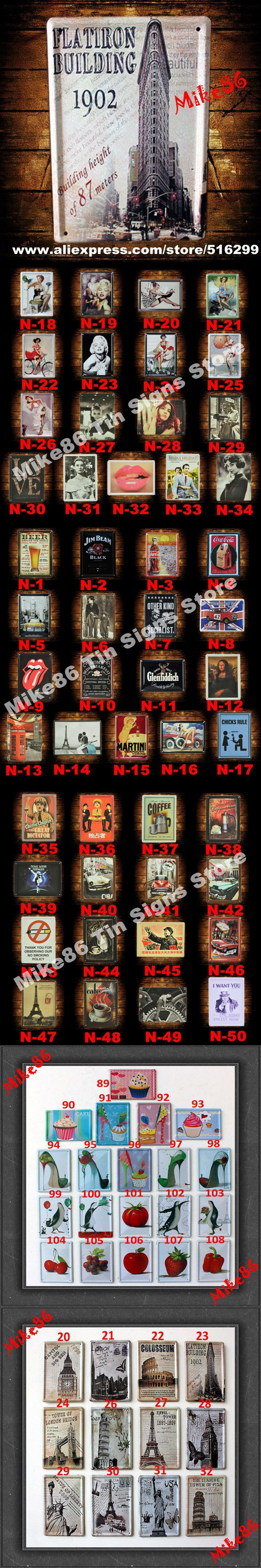 [ Mike86 ] Vintage Metal Plaque Small Cafe PUB Home Retro Decor F-65 Metal paintings 11*8 CM $2.99