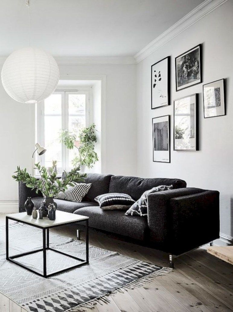 Black And White Living Room Decor With Minimalist Design 08