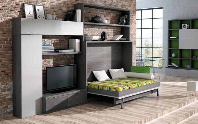 Cama de 135 cm abatible, ideal para pequeños apartamentos en los que se quiere aprovechar muy bien el espacio.