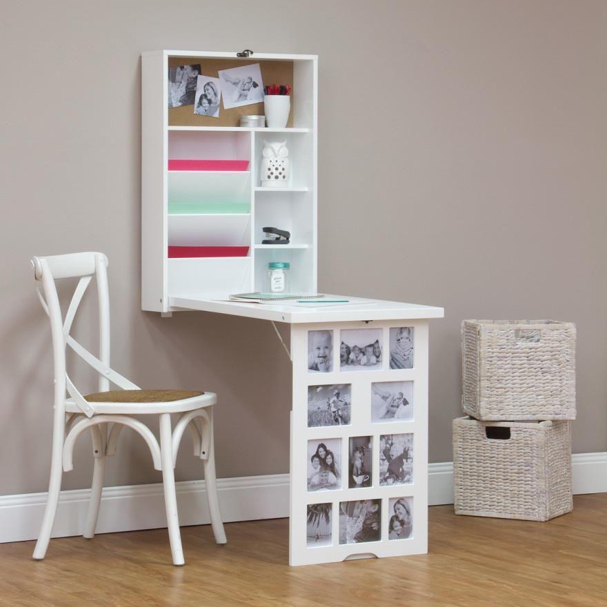 Photo Frame Fold Down Multi Storage Space Saving Office Study Wall Desk White Fold Down Desk Desk Storage Fold Away Desk
