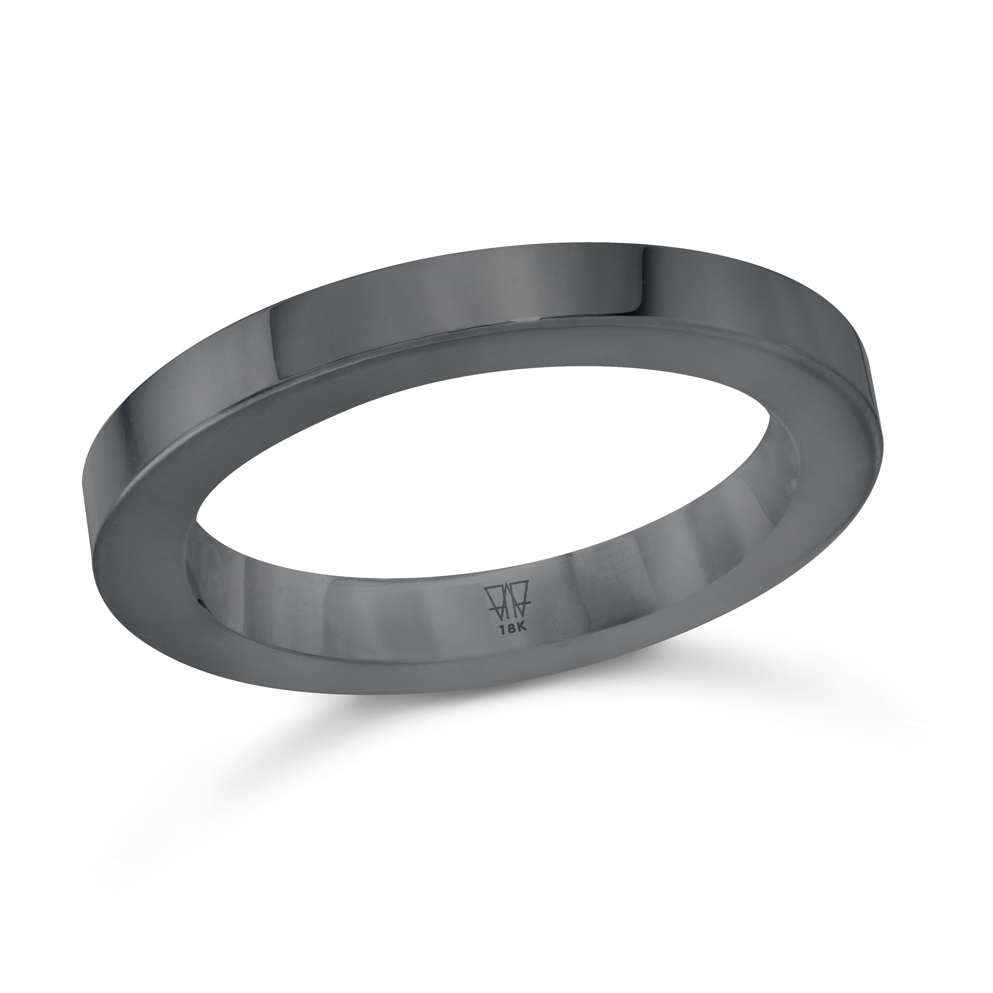 GRANT 18K White Gold and Black Rhodium 3mm Cubed Band