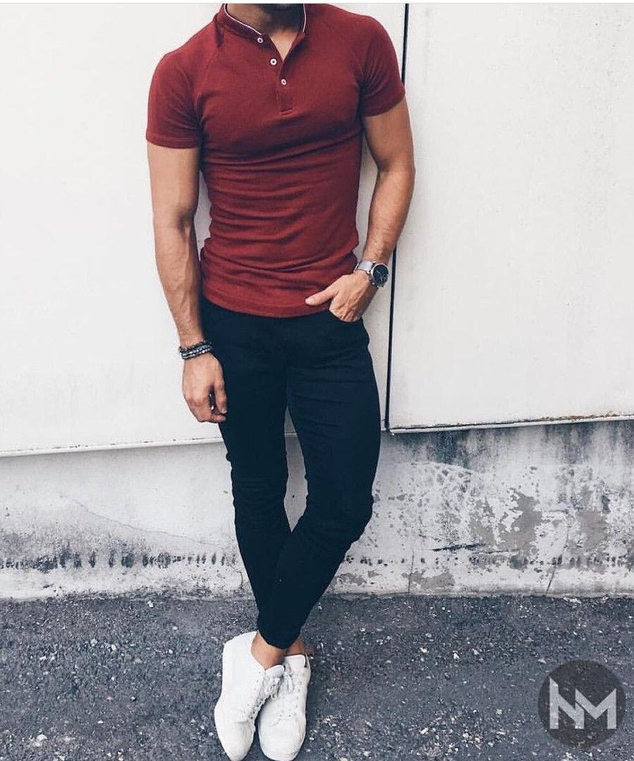 men red polo shirt with dark jeans and white sneakers
