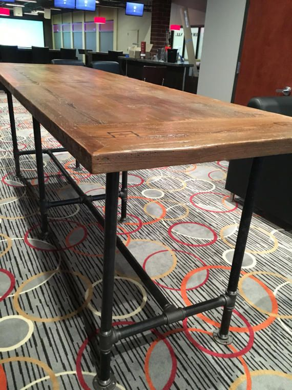 Reclaimed Wood Table 30 X 72 With 1 1/4 Pipe Base Counter Height Base  Longer Than 8 Foot Table Tops Are Built With A Center Support Section.