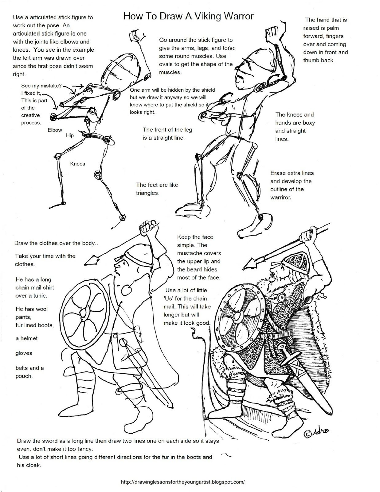 How to Draw Worksheets for The Young Artist How To Draw A Viking