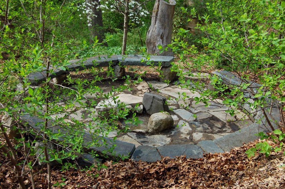 woodland seating circle - semicircular retaining wall ...