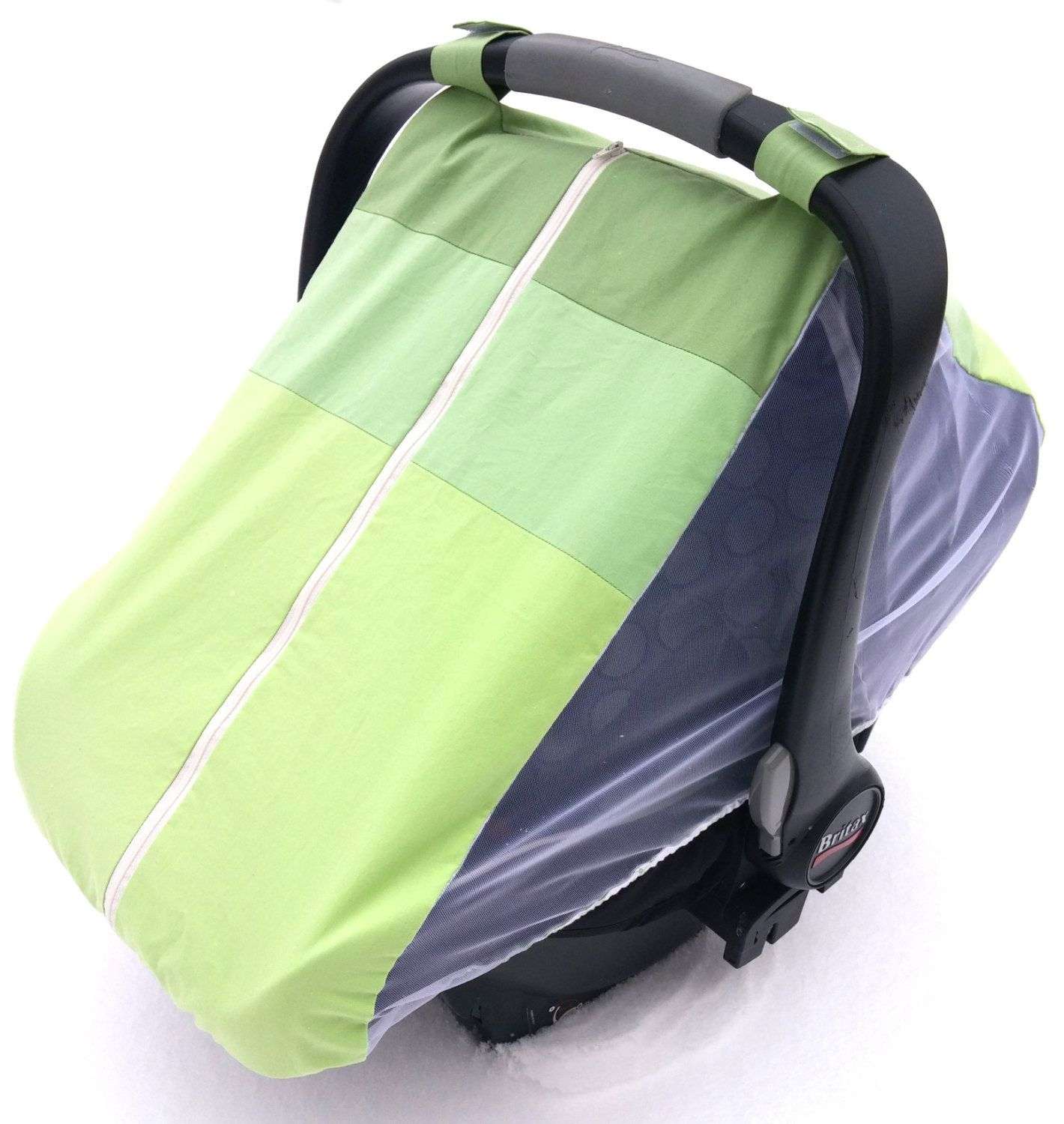 fitted cotton car seat cover for springsummer green ombre fitted infant carseat canopy - Green Canopy 2016