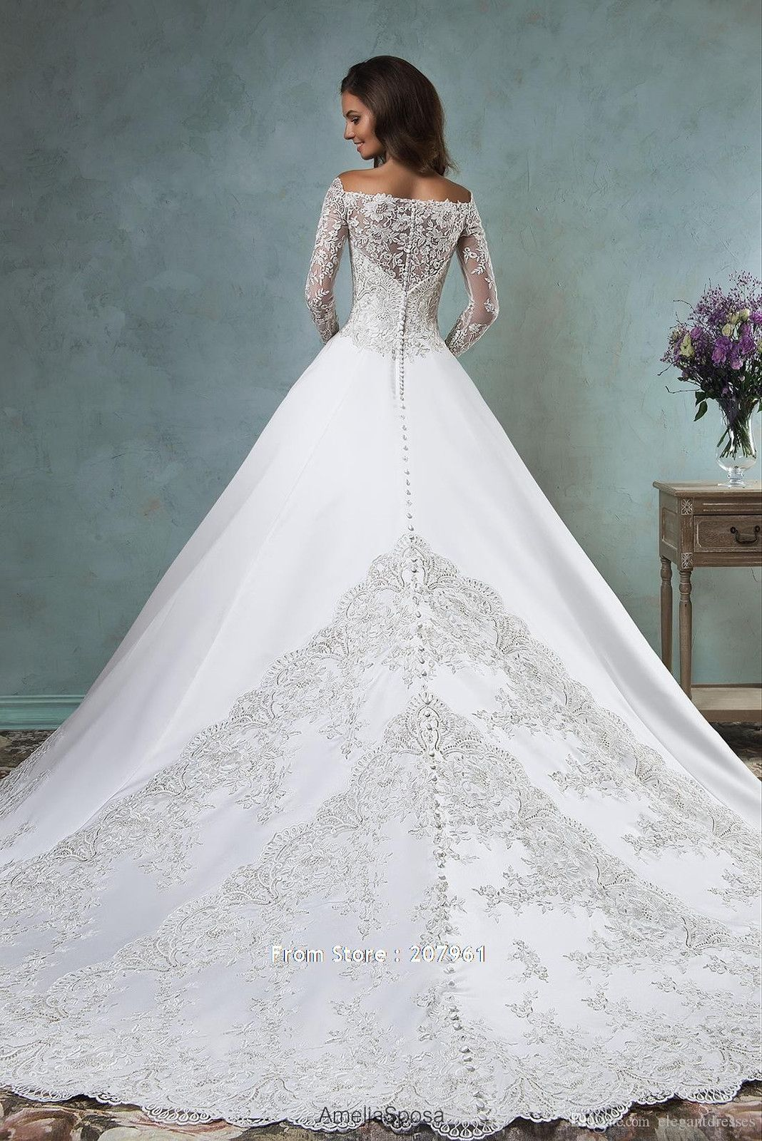 Luxurious lace long sleeve wedding dress offshoulder appliques