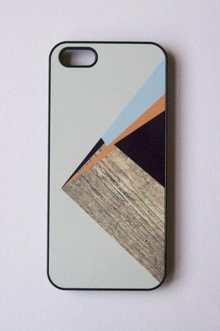 Geometric Color Block With Wood Print IPhone Case