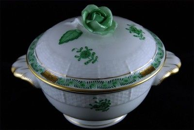 HEREND: Chinese Bouquet Green Covered Cup, w/Rose