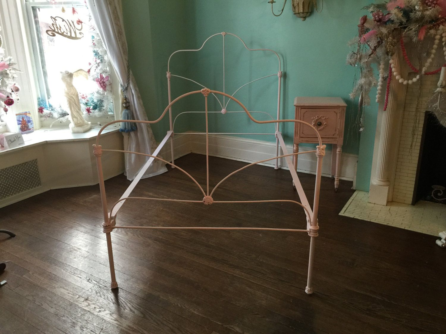 shabby chic twin bed frame cast iron pink distressed antique twin chalk paint by vintagechicfurniture on - Antique Twin Bed Frame