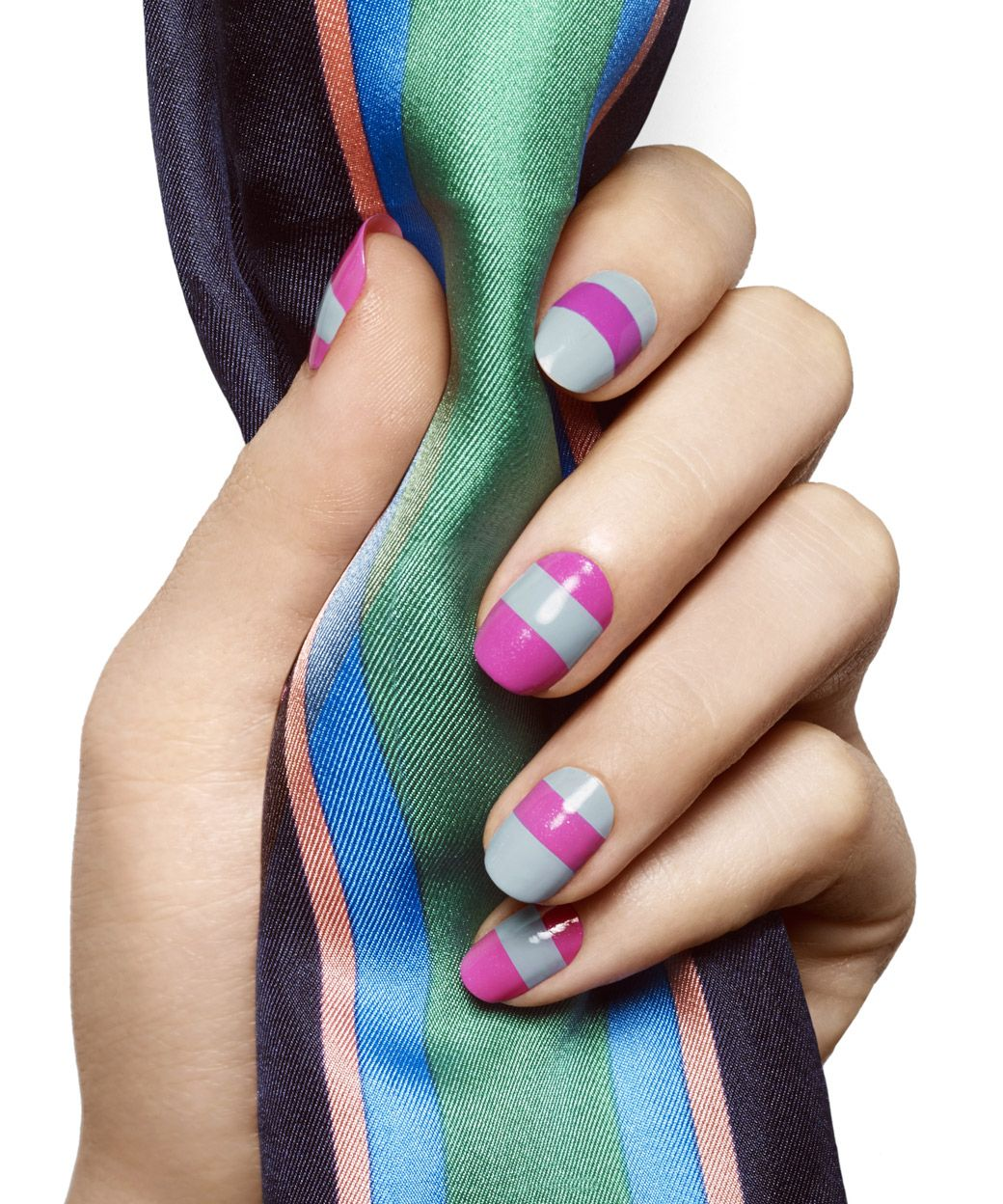 Concrete And Nail Polish Striped Nail Art: Earn Your Stripes By Essie