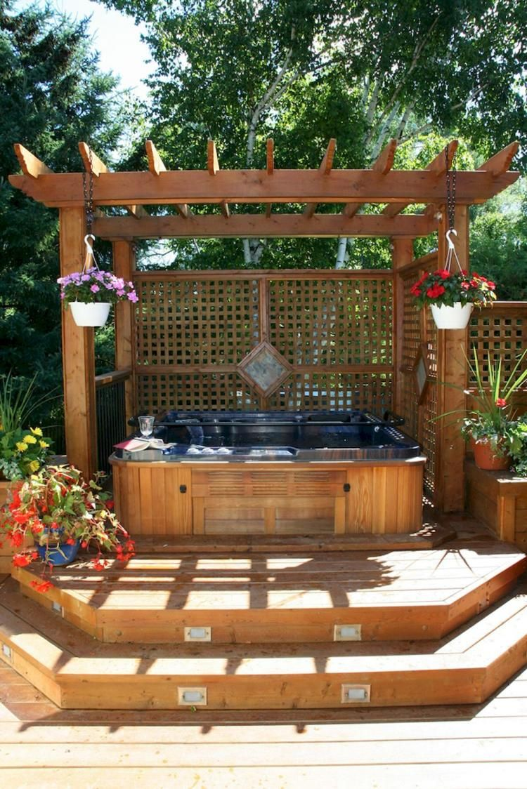 65+ Creative DIY Backyard Privacy Ideas On A Budget | Hot ... on Deck And Hot Tub Ideas  id=85193