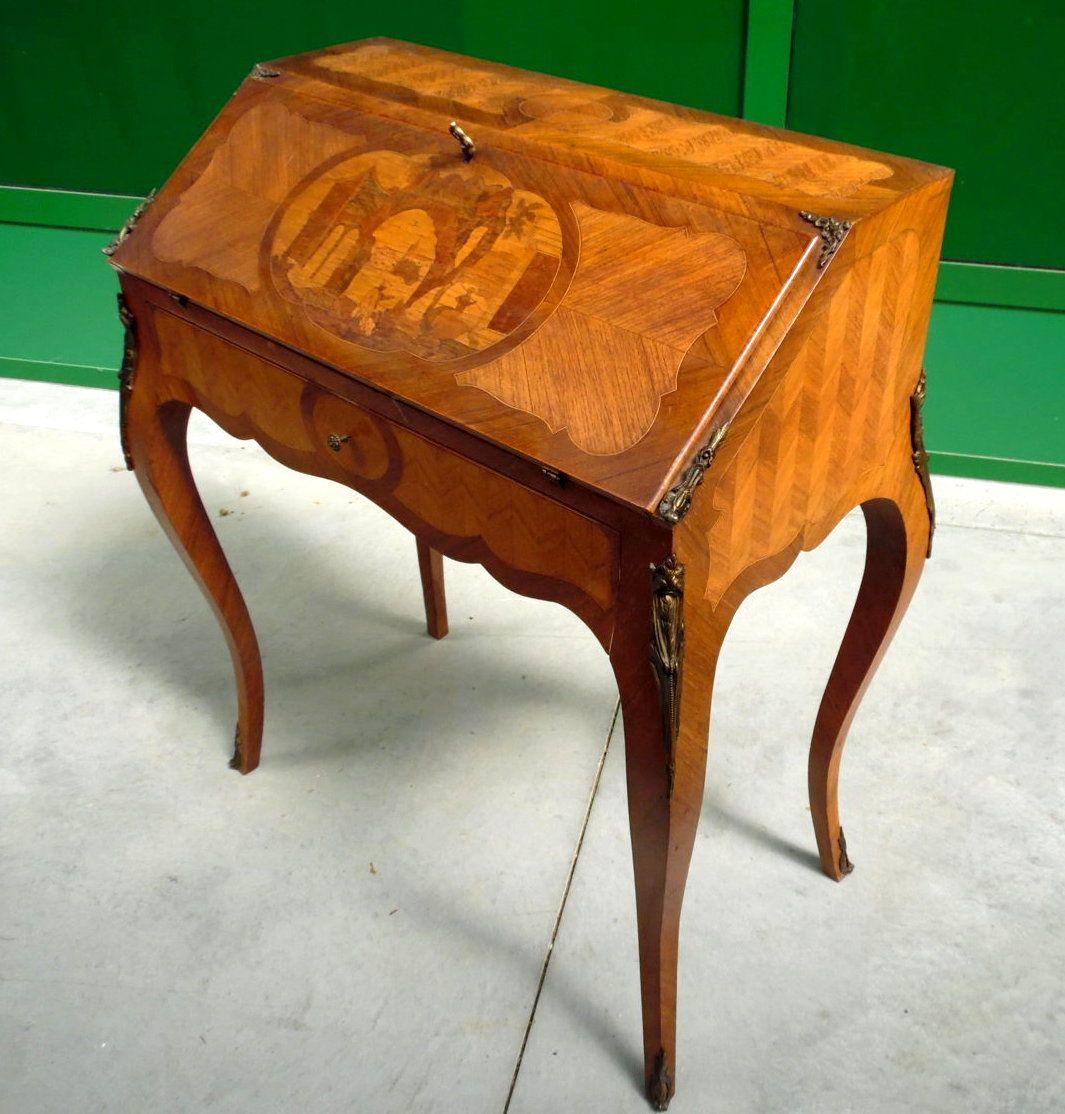 Ribalta in stile Luigi XV secretaire de dame in mogano palissandro e ...