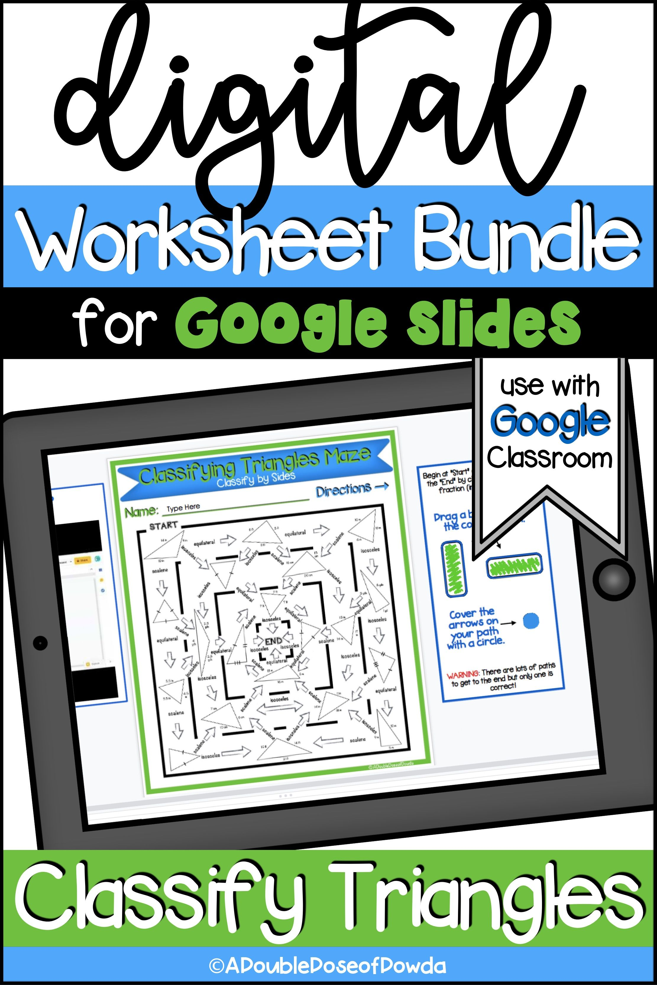 Classify Triangles Digital Worksheet Bundle For