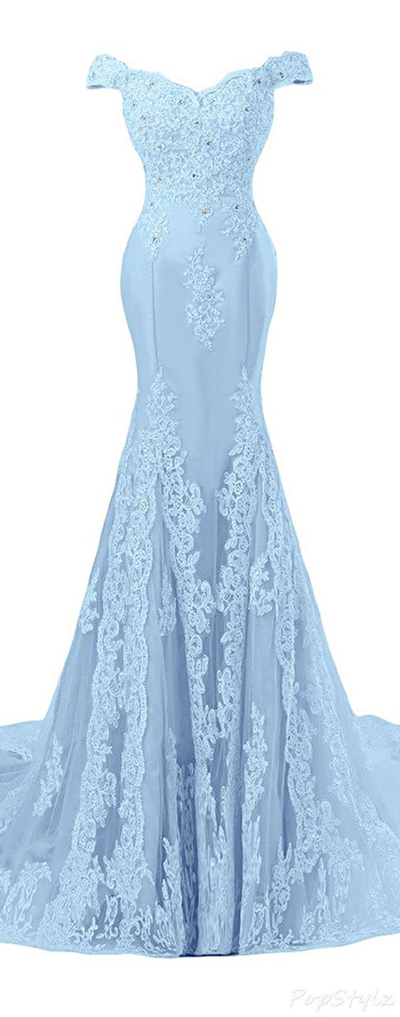 Sunvary off shoulder formal lace evening gownmermaid prom dress