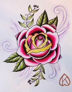 American Traditional Rose Tattoo Flash
