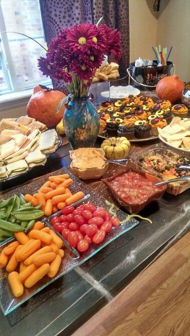 buffet table for halloween themed gender reveal party gender rh pinterest com