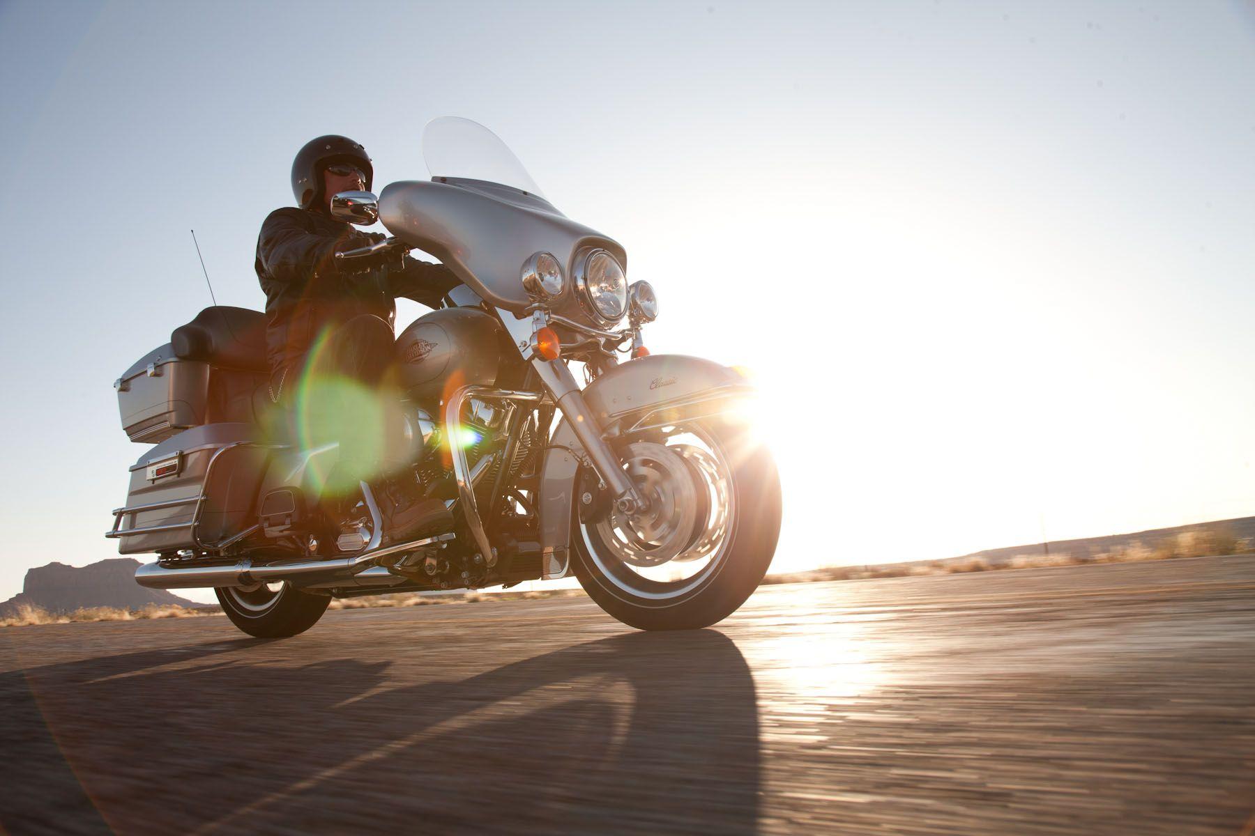 Harley Davidson Riding Into The Sunset Harley Davidson Harley