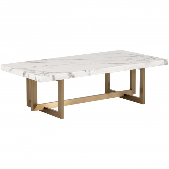 Rosellen Coffee Table Antique Brass White Marble In 2020 Coffee Table Dining Table Marble Dining Table