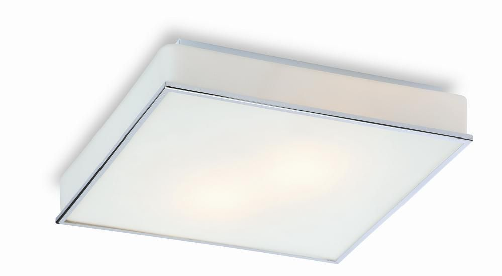 Firstlight Profile Square Flush Bathroom Ceiling Light Has An Opal Gl With Polished Chrome Trim