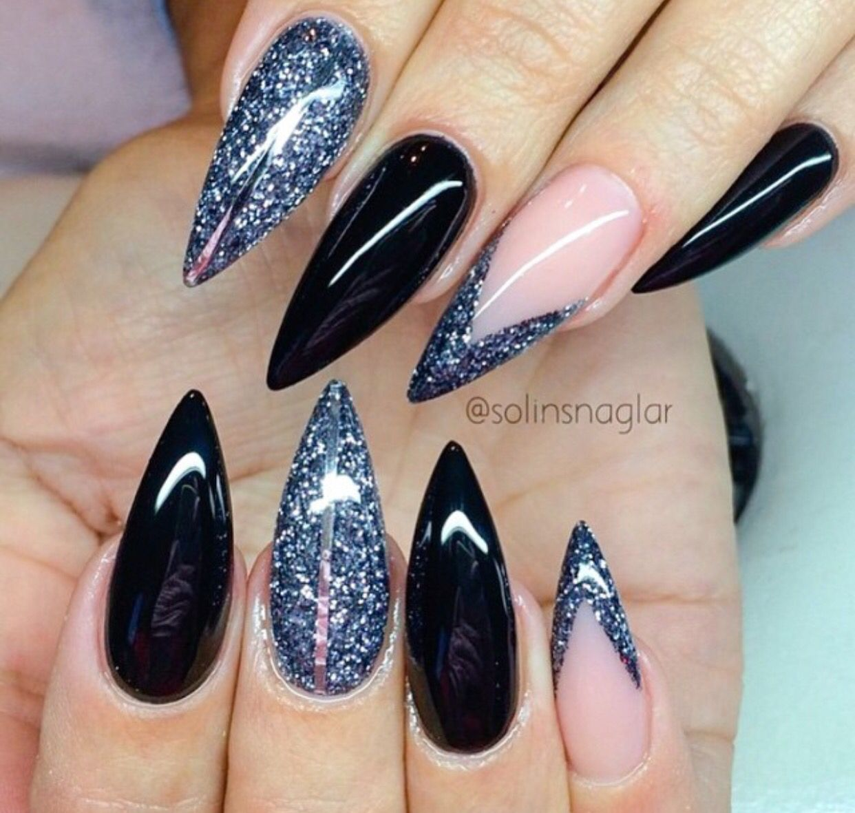 Black & Glitter Nails | Nails | Pinterest | Black glitter nails ...