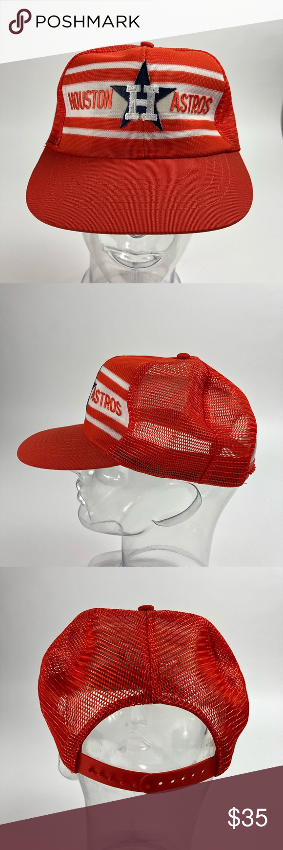 df089aa4 Houston Astros Vintage Deadstock Snapback Hat Houston Astros Official MLB  80's mesh adjustable snapback hat.