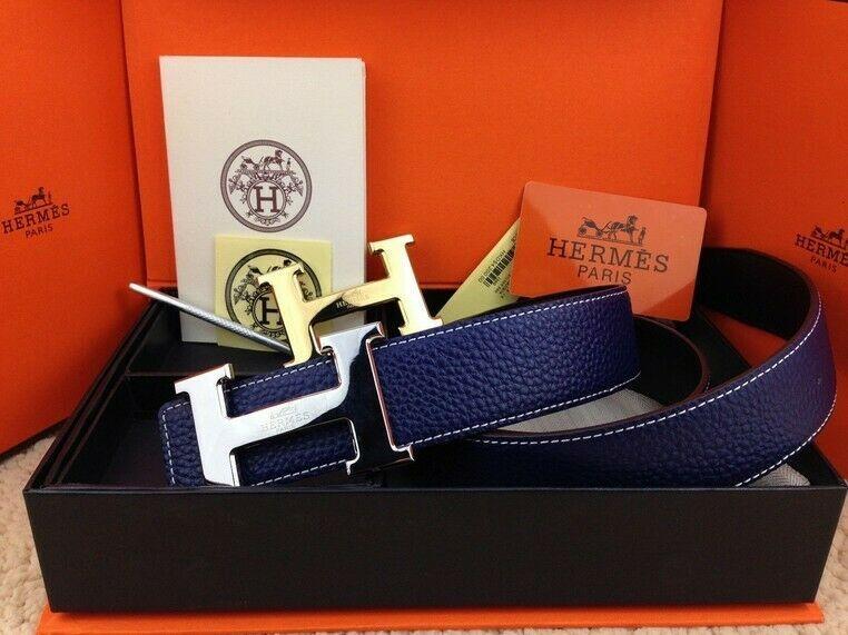 New Authentic Hermes men's belt 38mm blue Double Buckle 2H
