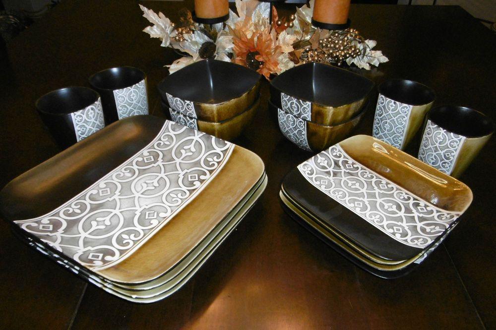 ELITE COUTURE 16-PIECE SQUARE DINNERWARE SET STONEWARE DINNERWARE SET (COMPLETE) #ELITECOUTURE & Elite couture 16-piece square dinnerware set stoneware dinnerware ...