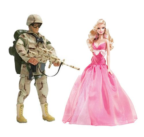 This picture shows an example of a boy's toy and a girl's toy. Clearly our society is teaching children that if you are a boy, you have to be strong and serve as a protector and if you are a girl, your only real job is to look like a beauty queen.  While we tend to criticize the gender roles placed on women (and rightfully so) I think we often neglect the pressures that society places on men.