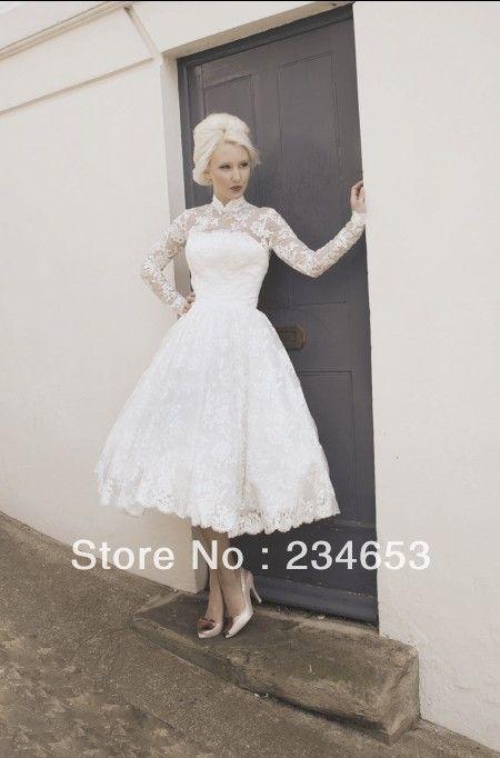 Vintage High Collar Lace Long Sleeve 2013 Short Wedding Dresses With Tea Leng Tea Length Wedding Dresses Lace 50s Style Wedding Dress Wedding Dress Long Sleeve