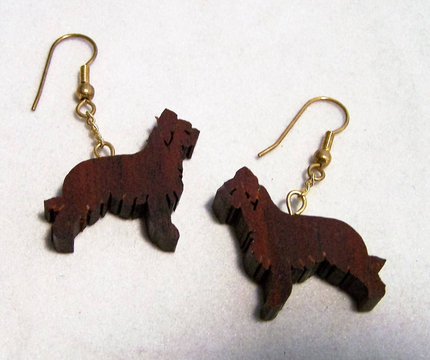 Clearance Carved Wood Briard Dog Earrings French Hook Pierced Style Usa Made Figural Animal Jewelry Vintage Jewellery 1116
